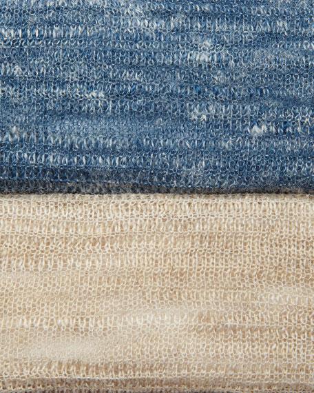 Hazy Striped Linen Poncho