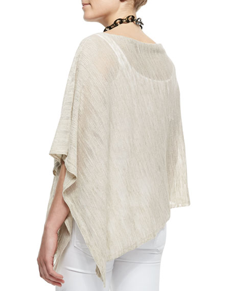 Hazy Striped Linen Poncho, Women's