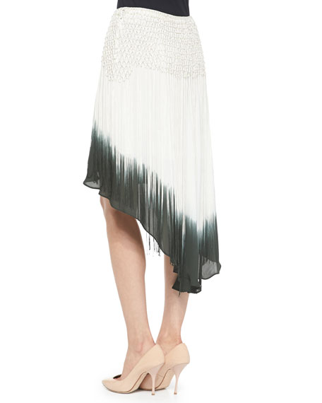 Dip Dye Fringe-Detail Silk Skirt