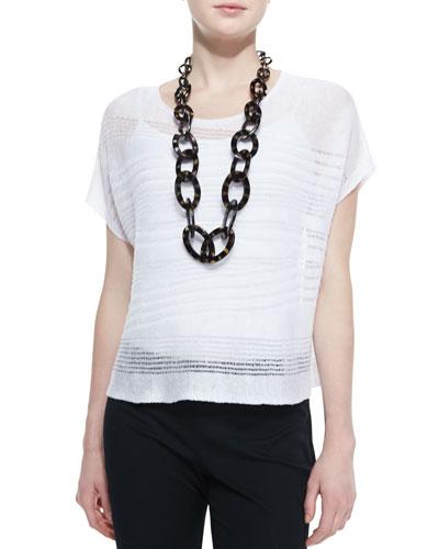 Eileen Fisher Short-Sleeve Linen Drift Box Top, Petite
