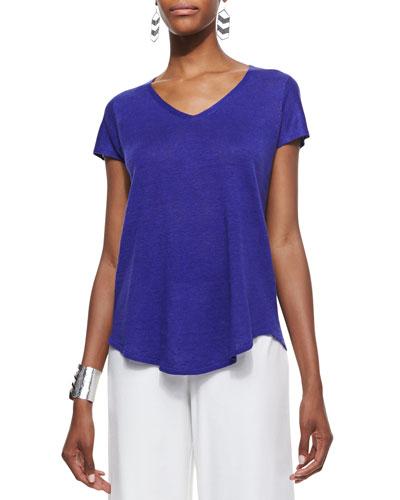 Eileen Fisher Lightweight Linen V-Neck Cap-Sleeve Top, Petite