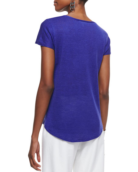 Lightweight Linen V-Neck Cap-Sleeve Top, Women's