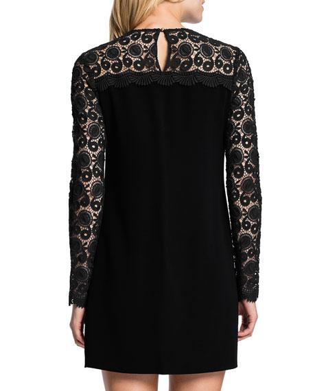 Long-Sleeve Lace-Top Minidress