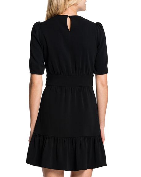 Half-Sleeve Tie-Waist Dress