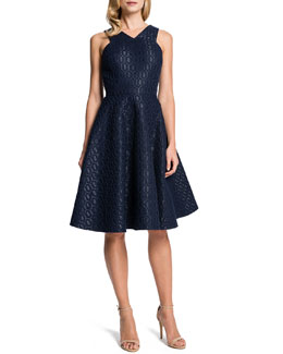 Cynthia Steffe Sleeveless Metallic Hex-Jacquard Fit-and-Flare Dress