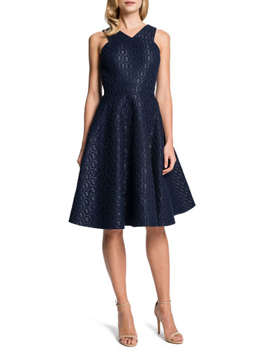 Cynthia Steffe Sleeveless Metallic Hex-Jacquard Fit-and-Flare Dress