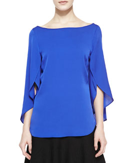 Milly Butterfly Scoop-Back Silk Top