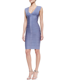 Herve Leger Sleeveless Deep-V Bandage Dress