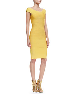 Herve Leger Cap-Sleeve Banded Dress
