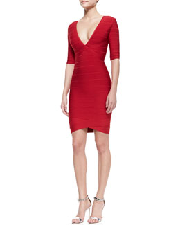Herve Leger Deep-V-Neck Bandage Dress
