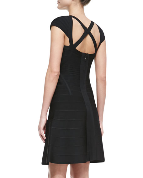 Cap-Sleeve Strappy Bandage Dress