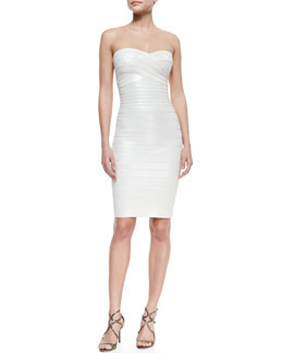 Herve Leger Strapless Sequined Bandage Dress