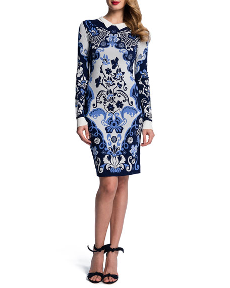 Ribbed-Trim Baroque Long-Sleeve Sheath Dress