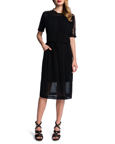 Cynthia Steffe Overlay Dress w/ Lace Insert Sleeves