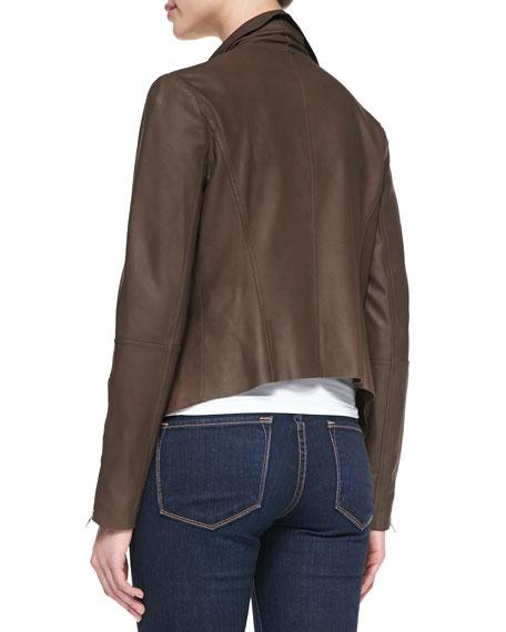 Leather Drape-Front Jacket