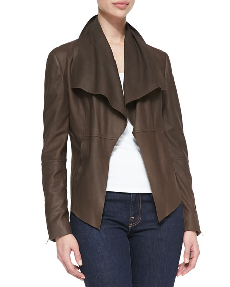 Leather Drape-Front Jacket