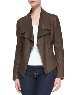 Neiman Marcus Leather Drape-Front Jacket