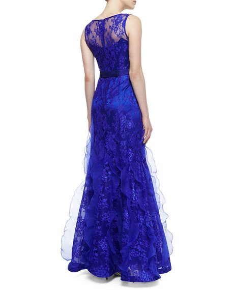 Sleeveless Lace Overlay Mermaid Gown