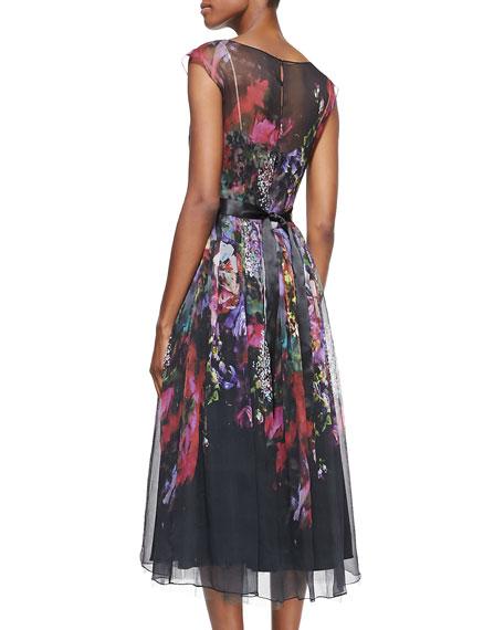 Cap-Sleeve Illusion Floral Burnout Cocktail Dress