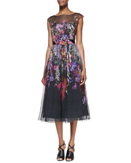 Rickie Freeman for Teri Jon Cap-Sleeve Illusion Floral Burnout Cocktail Dress