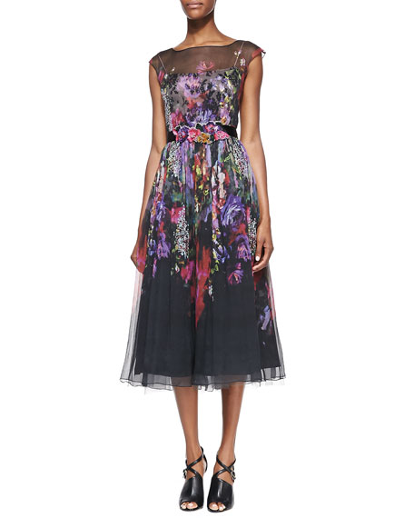 Cap-Sleeve Illusion Floral Burnout Cocktail Dress