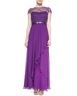 Rickie Freeman for Teri Jon Short-Sleeve Illusion Beaded Lace Bodice Gown