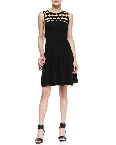 Milly Open-Yoke Fit-and-Flare Knit Dress