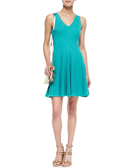 Rib Stretch Sleeveless Fit-and-Flare Dress