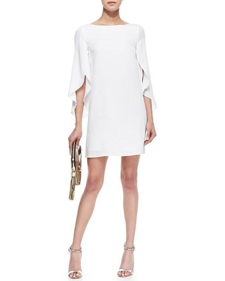 Butterfly-Sleeve Silk Dress