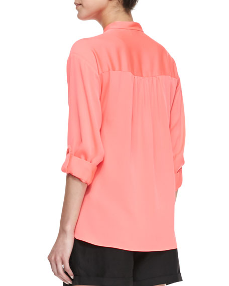 Katalina Pleated Stretch-Silk Blouse