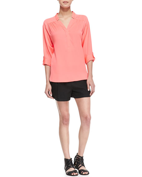 Stella Cuffed Linen-Blend Shorts
