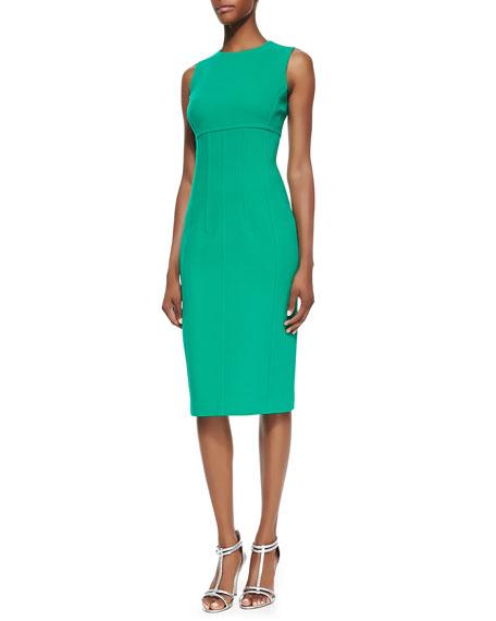 Stretch Boucle Crepe Sleeveless Dress, Emerald