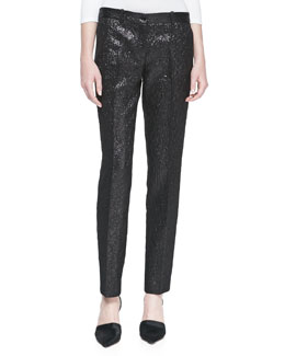 Michael Kors Crepe Metallic Crushed Pants, Black
