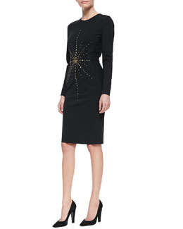 Tamara Mellon Long-Sleeve Studded Jersey Sheath Dress