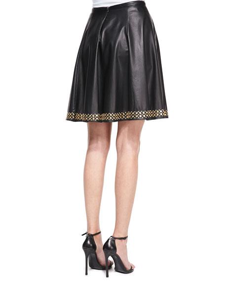 Studded Leather Circle Skirt