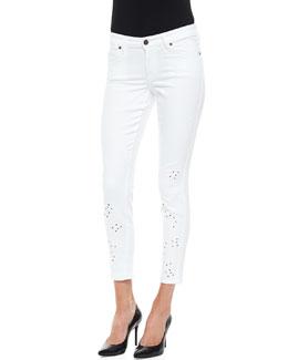 CJ by Cookie Johnson Joy Floral Eyelet Jeans, White