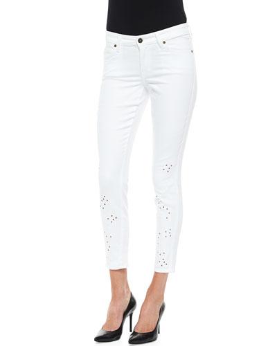 Joy Floral Eyelet Jeans, White