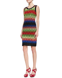 M. Missoni Sleeveless Colorblock Ripple-Stitch Dress