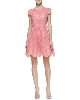 Alice + Olivia Zenden Scallop Lace Dress