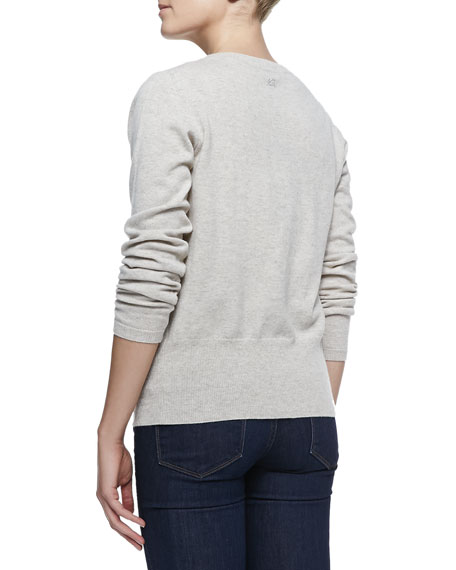 Button-Front Cashmere Cardigan, Champagne