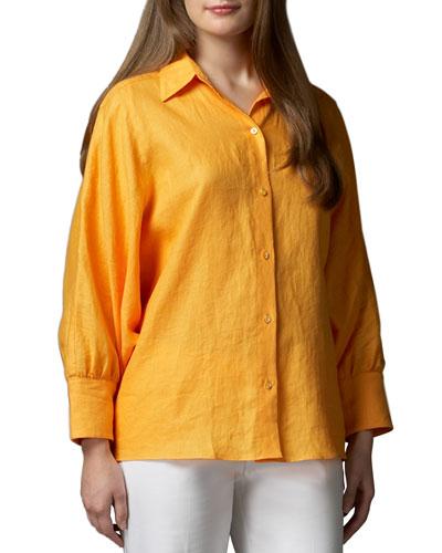 Neiman Marcus Long-Dolman-Sleeve Tunic