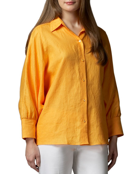 Neiman Marcus Long-Dolman-Sleeve Tunic
