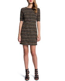 Cynthia Steffe Half-Sleeve Textured Stripe Dress