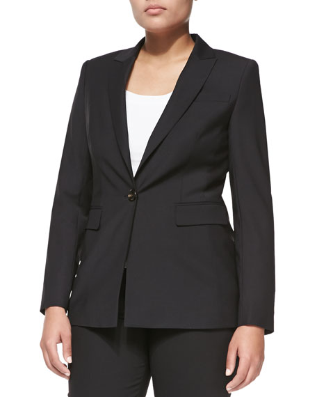 One-Button Crepe Blazer, Black, Women's