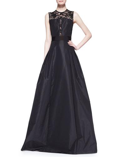Carmen Marc Valvo Sleeveless Lace Illusion Bodice Gown