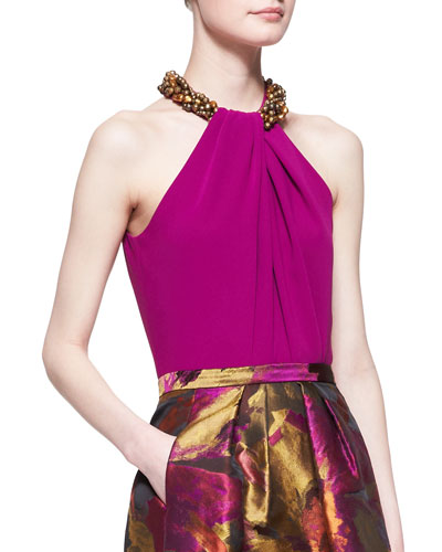 Carmen Marc Valvo Beaded-Neck Halter Top, Magenta