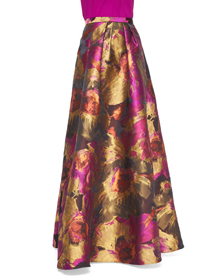 Abstract Floral-Print Ball Skirt, Magenta/Multicolor