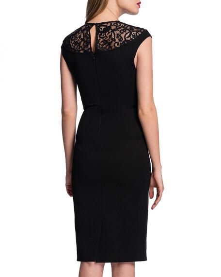 Lace-Yoke Slim Sheath Dress