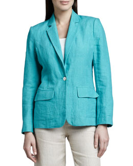 Neiman Marcus One-Button Linen Blazer