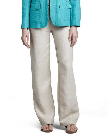 Neiman Marcus Long Linen Pants, White